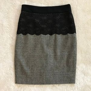 Zara Pencil Skirt Plaid Black Lace Wool Blend S